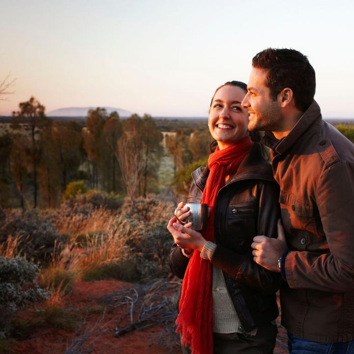 happy couple at Desert Awakenings at Ayers Rock Resort